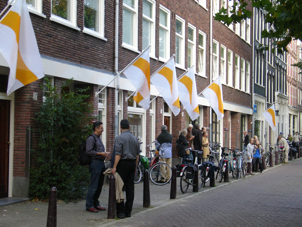 Flag of Compassion, 2008©undafoundation During the exhibition Blossom at art gallery Lumen Travo seven copies of the Flag of Compassion are installed on the façade of the building at the Lijnbaansgracht in Amsterdam.